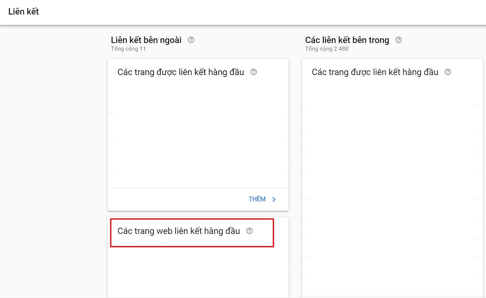 kiểm tra backlink website google search console